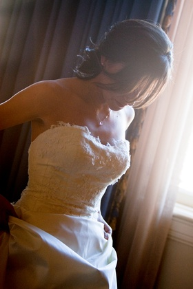 Bride getting ready for her wedding at the Millennium Biltmore Hotel Los Angeles CA