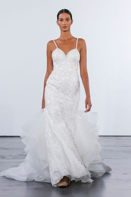 Dennis Basso for Kleinfeld 2018 collection wedding dress spaghetti strap gown with ruffle train