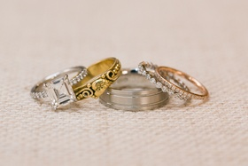 Platinum, gold, and rose gold wedding day rings