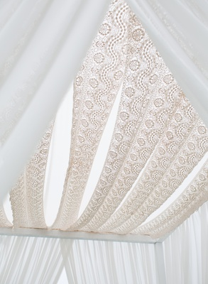 Jewish chuppah of billowing fabric and champagne lace