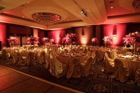 Circular table design with pink centerpiece