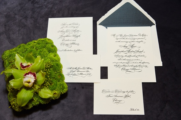 Formal wedding invitation suite calligraphy script simple and sophisticated
