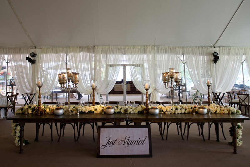 ... Tented Wedding Reception With Long Wood Head Table, Rose Table Runner,  Just Married Sign; Rustic ...