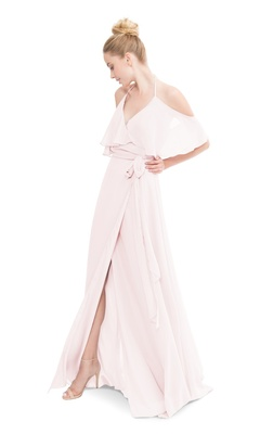 Wrap style gown with cold shoulder details and optional tie at waist.