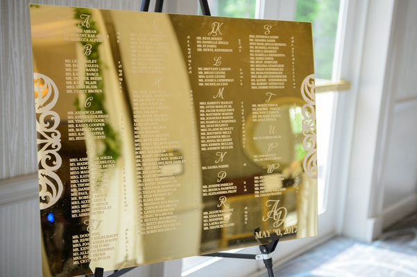 wedding seating chart on shiny gold mirror with names etched in alphabetical order monogram wedding