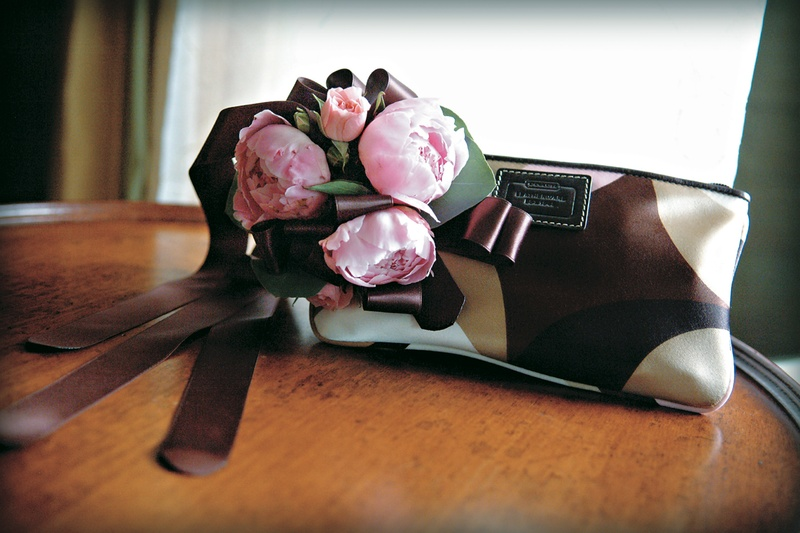 Brown and tan bag with blush garden rose