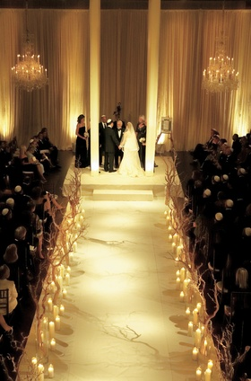 Jewish ceremony with ketubah and chandeliers