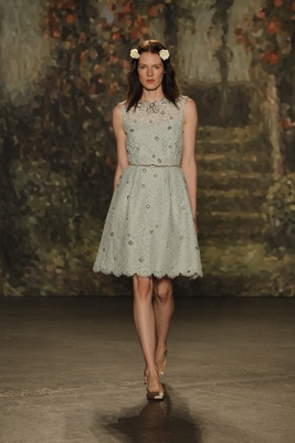 """blue a-line """"perdith"""" dress with knee length skirt by jenny packham"""