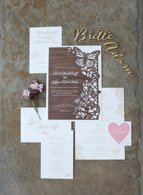 Adam Ottavino Brette Wolff invitation with laser cut butterfly wood invite and place cards