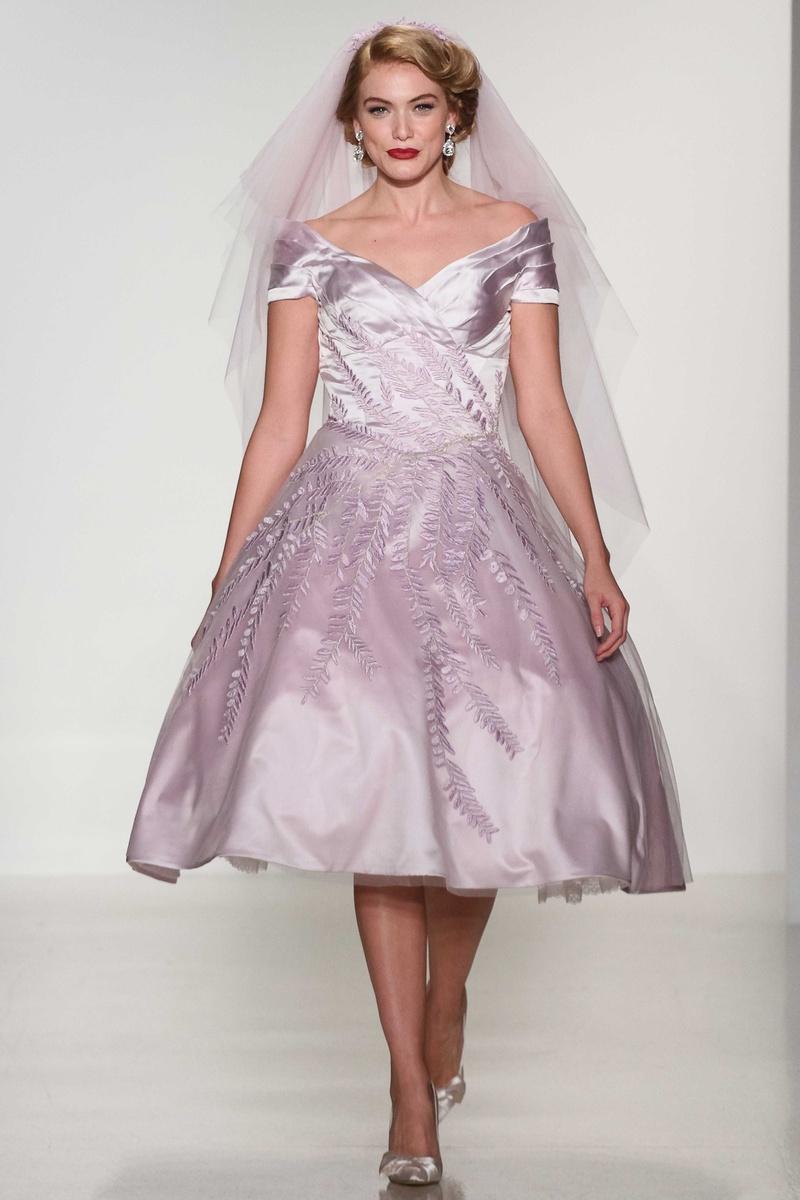 Vintage Tea Length Purple Bridesmaid Dresses