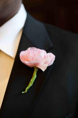 Groomsman boutonniere pink flower on lapel