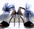 Jimmy Choo navy blue peep toe shoes with tulle bow at ankle