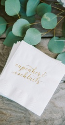 "engagement party inspiration, white cocktail napkins with gold emboss ""cupcakes & cocktails"""