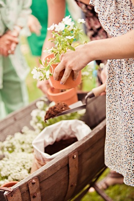 Guests pot plants as favors