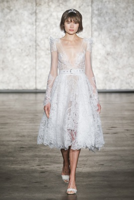 Inbal Dror Fall 2018 Short crochet lace belted long sleeve ballerina