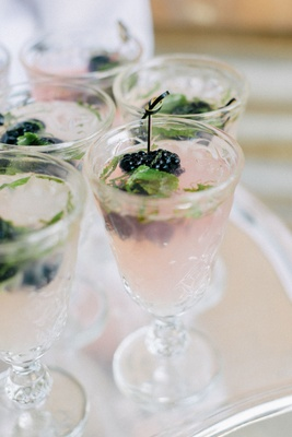 Wedding reception cocktail hour cocktail mojito blackberry mint blueberry berry drink