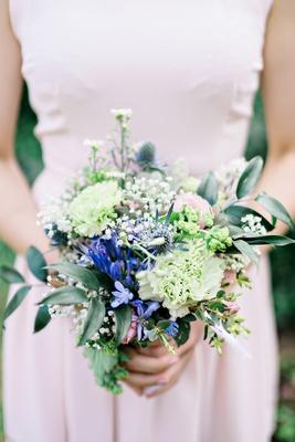 bridesmaid wildflower bouquet greenery leaves nosegay british english garden wedding england UK