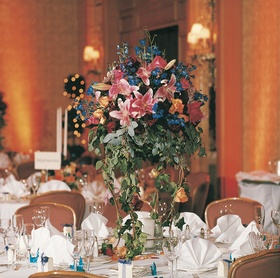 Colorful flower arrangement on tables
