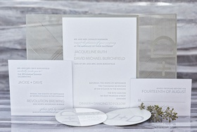 wedding invitation suite elizabeth grace modern design silver white stationery lettering initials