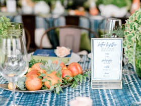 bridal shower decor gold platter of plums and cherries succulents greenery blue white linens
