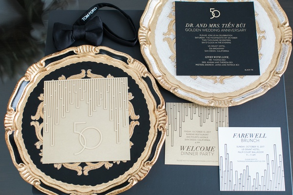 art-deco style invitation suite for 50th wedding anniversary in black, gold, white