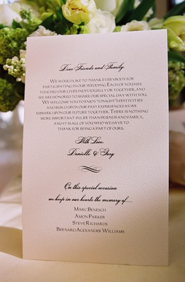 White thank-you note for wedding guests