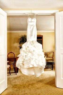 ruffled mermaid wedding dress by rivini