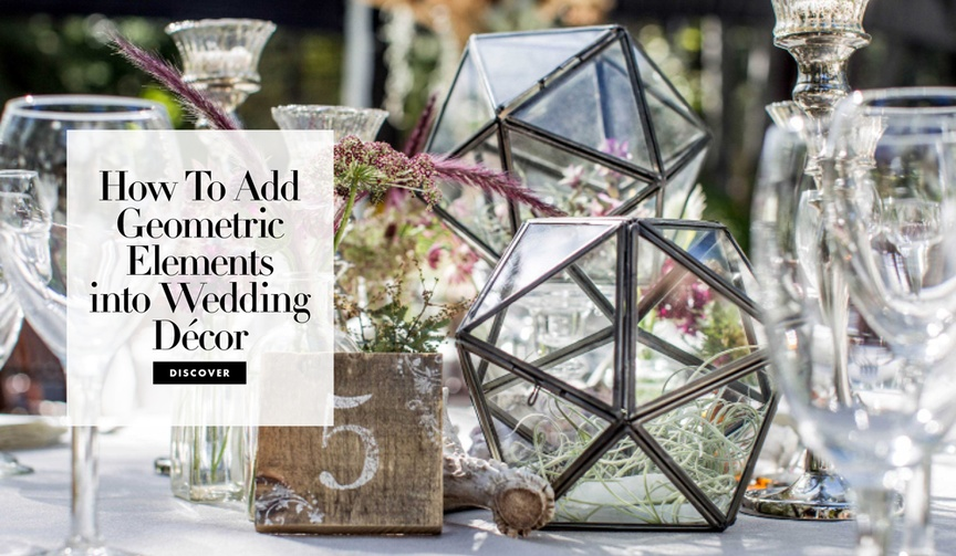 chic modern geometric wedding decor details elements ceremony reception designs terrarium patterns