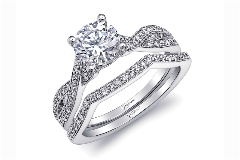 Coast Diamond twist diamond engagement ring and band
