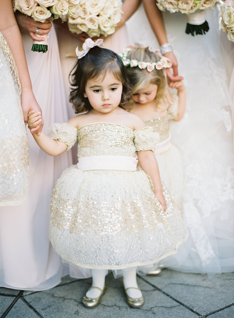 White and gold flower girl dress with sequins and ruffles