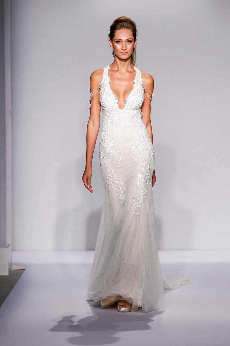 Pnina Tornai for Kleinfeld 2016 v-neck wedding dress with draped crystal shoulders