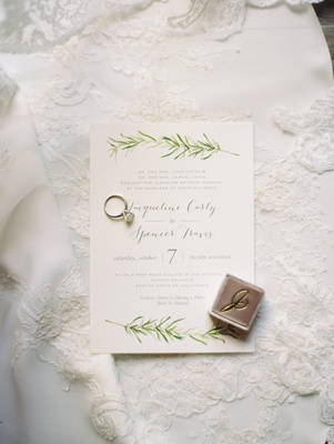 simple wedding invitations with illustration of olive branch