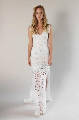 Romantique by Claire Pettibone Spring 2017 California Dreamin' crochet sheath wedding dress