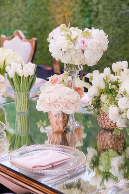 Mirror table rose gold table wedding reception hedge wall tulips, roses, peonies in rose gold vases