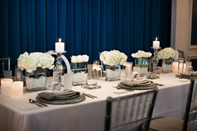 White and silver rectangular table
