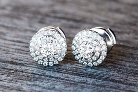 Bride's Tiffany & Co. pave diamond earrings