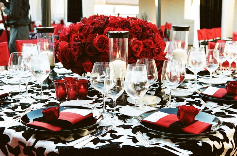 Reception Décor Photos - Black, White & Red Tablescape - Inside Weddings