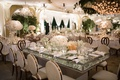 Rectangle revelry event designers table rose gold velvet guest chairs drop crystal table