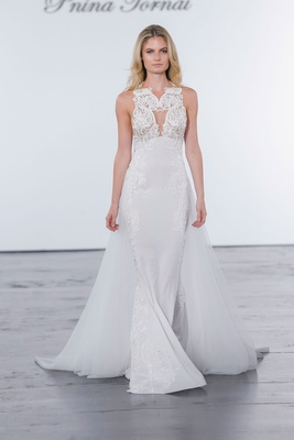 Pnina Tornai for Kleinfeld 2018 wedding dress high neck gown cape skirt train embroidery