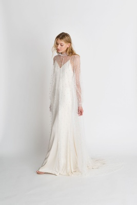 "Alexandra Grecco fall winter 2018 ""The Magic Hour"" wedding dress Astrid v neck gown with Quinn cape"