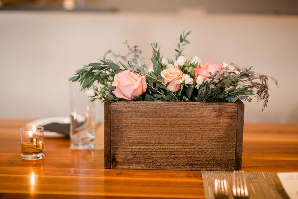 wooden planter box arrangement glass votives rustic wedding portland oregon pink white greenery tea