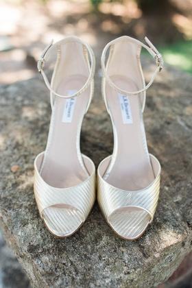 metallic ankle strap heels wedding LK Bennett rustic shiny