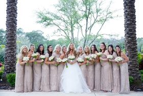 bride in hayley paige ball gown with tulle skirt, bridesmaids in adrianna papell beaded gowns