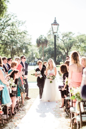 bride in mark ingram wedding dress outdoor south carolina wedding mother of bride walking down aisle