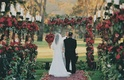 Bride and groom at outdoor red rose ceremony