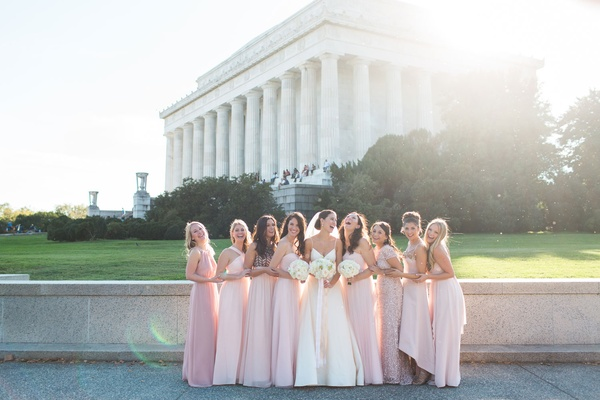 Mismatched bridesmaids pink dresses high neck, beading, lace short sleeve, high low bride in amsale