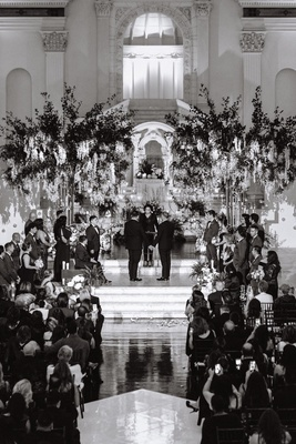same-sex wedding inspiration, black and white photo of gay wedding at vibiana in los angeles