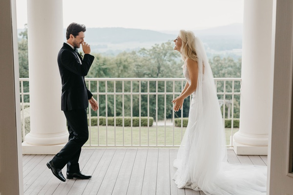 groom and bride reaction after first look wedding photo former miss america savvy shields