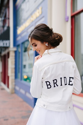 white denim jacket with bride on the back, trendy bridal accessories, bride jacket,