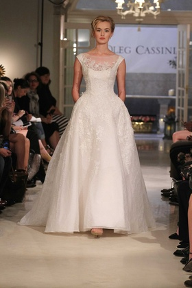 Oleg Cassini at David's Bridal wedding dress with off the shoulder ball gown illusion scoop neckline
